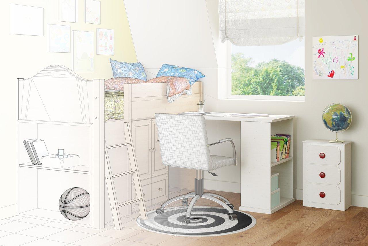 Das Kinderzimmer Vom Schreiner Bett Schrank Schreibtisch